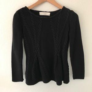 Zara Knit Black Peplum Style Sweater
